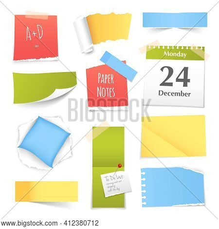 Colorful Paper Notes Various Shapes And Sizes Curled Rolled Bent And Torn Realistic Images Collectio