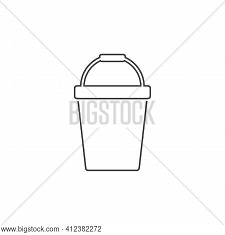 Pail Line Icon Logo Template Vector In Flat