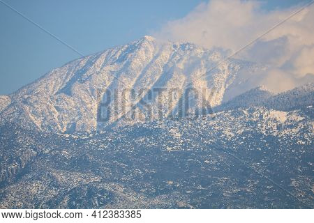Snow Capped Mountain Peak Taken At Mt San Jacinto, Ca In The Rugged Southern California Mountains