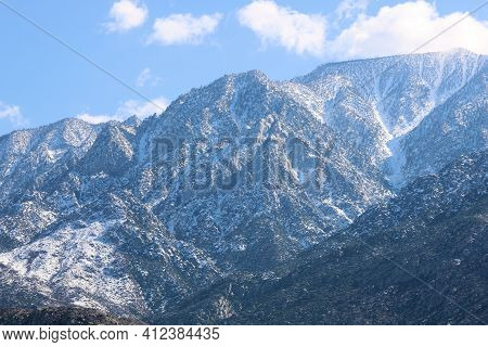 Snow Covered Rugged Mountains Taken At Mt San Jacinto In Palm Springs, Ca