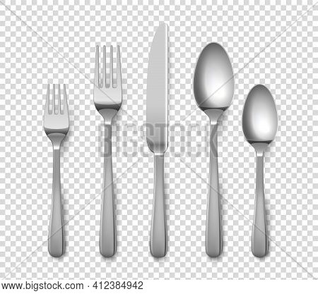 Realistic Cutlery. 3d Forks And Knives Or Spoons. Isolated Metal Objects For Table Setting On Transp
