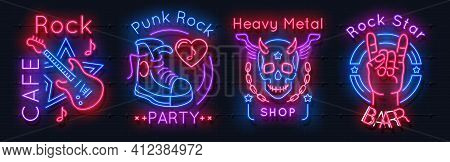 Rock Music Neon Sign. Realistic Luminous Signboards. Billboards Of Music Cafe Or Bar. 3d Glowing Ban