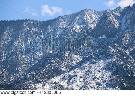 Rugged Mountainous Terrain Covered With Snow Taken In Mt San Jacinto, Ca