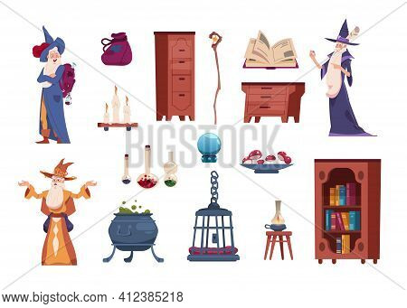 Wizard Tools. Cartoon Magician Casts Spells. Alchemical Laboratory With Cauldron For Potions And Via