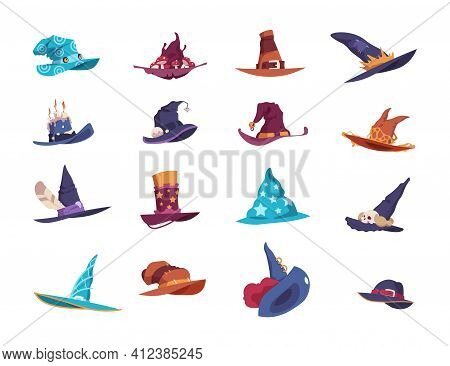 Wizard Hats. Cartoon Magician Wide-brimmed Pointed Headgear. Colorful Headdress Decorated With Feath