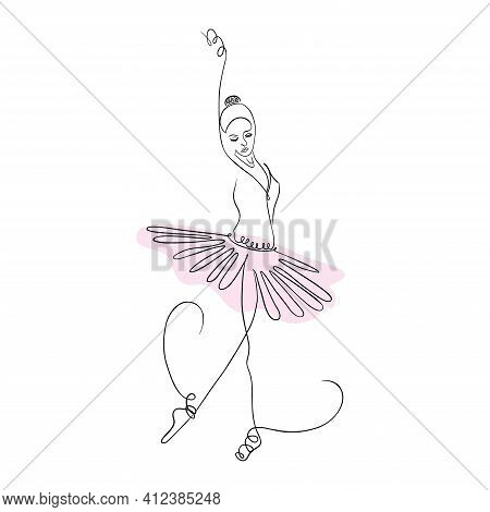 One Line Of A Ballet Dancer. Continuous Line Art Of Beautiful Ballerina. Vector Illustration Of Grac