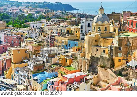 Small Boats In Port On A Bay Of Procida Island, Naples, Italy