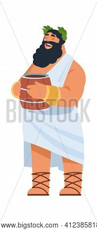 God Dionysus. Ancient Greek Deity, Divine Patron Of Winemaking. Cartoon Bearded Fat Man In Toga Hold