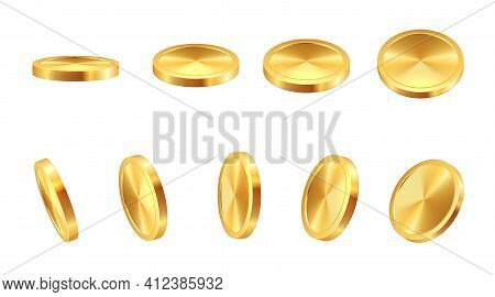 Golden Coin. Realistic Gold Cash. 3d Blank Monetary Signs. Money Animation. Savings In Precious Meta