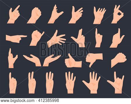 Hand Gestures. Cartoon Human Arms, Palms Positions. Pointing And Counting With Fingers. Clenched Fis