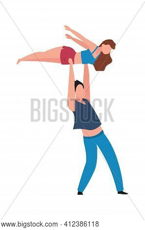 Dancing People. Cartoon Couple Performing Choreographic Element. Isolated Pair Of Professional Dance