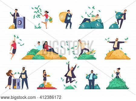 Rich People. Successful Characters Throwing Banknotes In Air. Millionaires With Safes And Bags Full