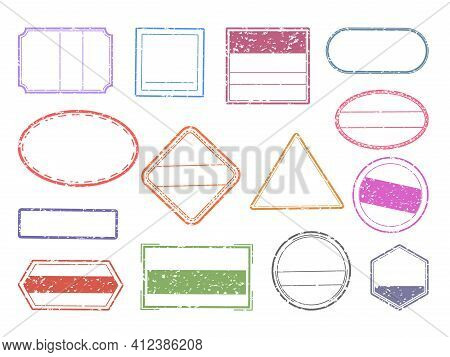 Grunge Stamp. Blank Geometric Stamps. Ink Imprints Set With Copy Space. Round, Square Or Triangular