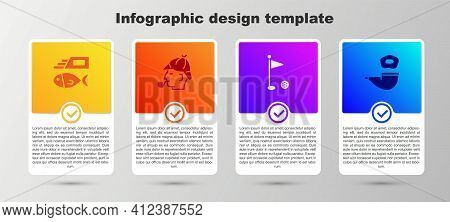 Set Fish And Chips, Sherlock Holmes, Golf Flag And Smoking Pipe. Business Infographic Template. Vect