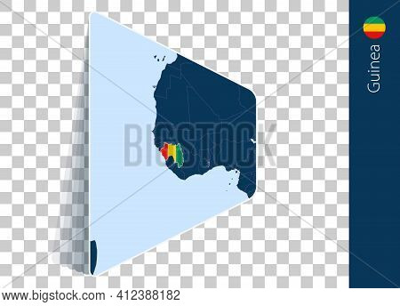 Guinea Map And Flag On Transparent Background. Highlighted Guinea On Blue Vector Map.