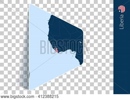 Liberia Map And Flag On Transparent Background. Highlighted Liberia On Blue Vector Map.
