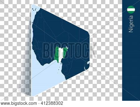 Nigeria Map And Flag On Transparent Background. Highlighted Nigeria On Blue Vector Map.