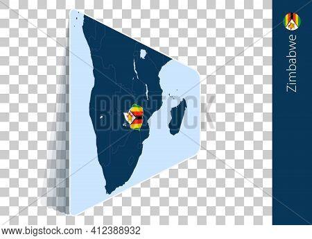 Zimbabwe Map And Flag On Transparent Background. Highlighted Zimbabwe On Blue Vector Map.