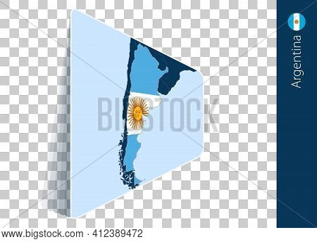 Argentina Map And Flag On Transparent Background. Highlighted Argentina On Blue Vector Map.