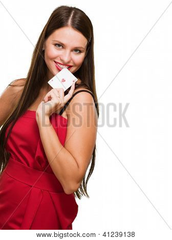 Happy Young Woman Holding Poker Card Isolated On White Background