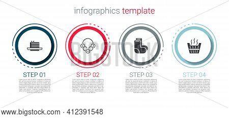 Set Medovik, Russian Bagels, Valenki And Sauna Bucket. Business Infographic Template. Vector