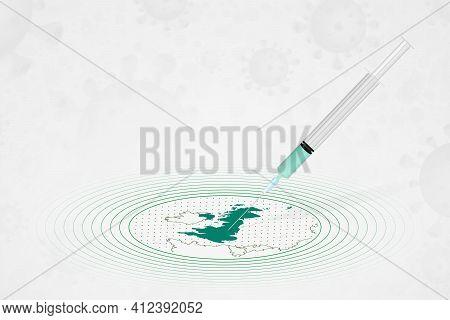United Kingdom Vaccination Concept, Vaccine Injection In Map Of United Kingdom. Vaccine And Vaccinat