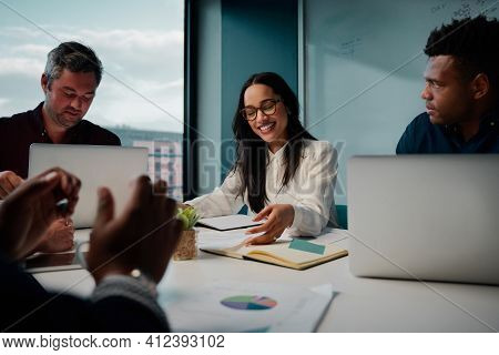 Multi Ethnic Business People Working Together In The Modern Office
