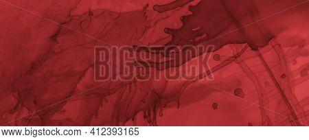 Grungy Blood Background. Rose Fluid Wallpaper. Horror Spatter Black. Watercolor Maroon Pattern. Bloo