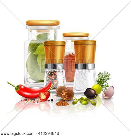 Spices 3d Composition With Bay Leaves In Glass Jar Pepper Mill Nutmeg On White Background Vector Ill