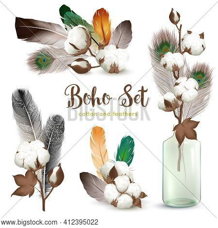 Boho Style Decorations With Ripe Cotton Plant Bolls Colorful Feathers Glass Bottle Realistic Composi