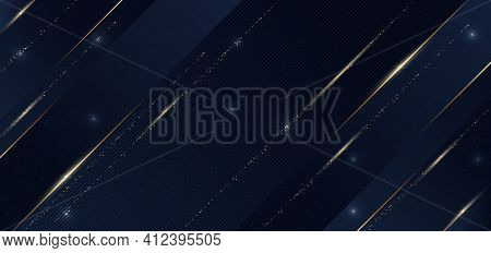 Abstract Template Blue Geometric Diagonal With Golden Line And Glitter Gold Dot On Dark Blue Backgro