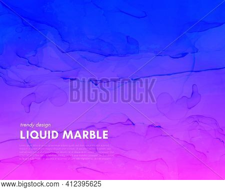 Abstract Fluid. Pink Blue Dynamic Marble. Modern Flow Poster. Alcohol Inks Paint Background. Futuris