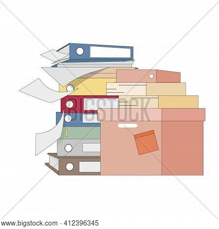 Stack File And Folder, Lot Of Work. Vector Organize And Storage Files, Overwork Documents, Folder At