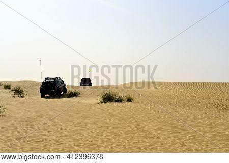 Dubai, United Arab Emirates – March 12, 2021, Early Morning Off-roading And Dune Bashing Around Al Q