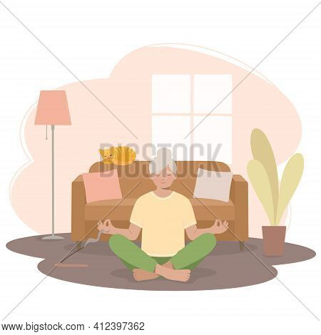 Senior Woman Meditating. Woman In A Yoga Pose, In A Lotus Position In The Living Room. Vector Flat I