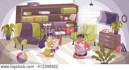 Flat Colored Hug Kid Composition With Family Together At Home Hug And Happy Vector Illustration
