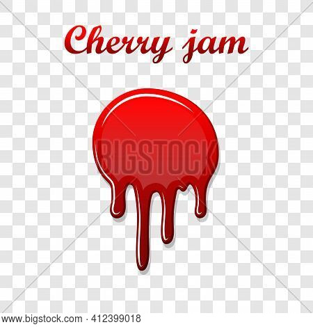 Red Cherry Drip Confiture 3d. Berry Sweet Jam Spot Isolated White Transparent Background. Drips Down