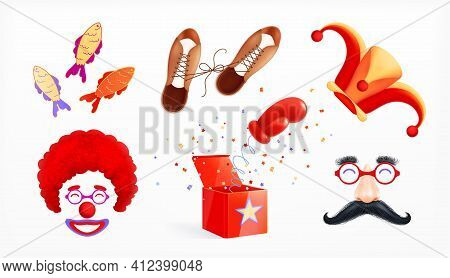 Fools Day 1 April Realistic Set Of Isolated Prank Items Fake Moustache Clown Mask And Hat Vector Ill