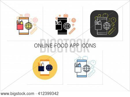 Online Food App Icons Set.contactless Meal Order.grocery Phone Application.delivery Food Conception.