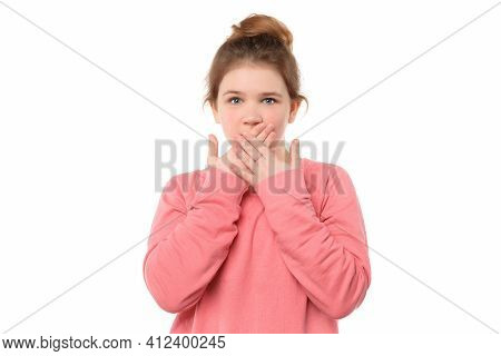 Young Girl 12-14 Years Old Shocked Covering Mouth By Hands For Mistake, Looks In Terror At Camera, I