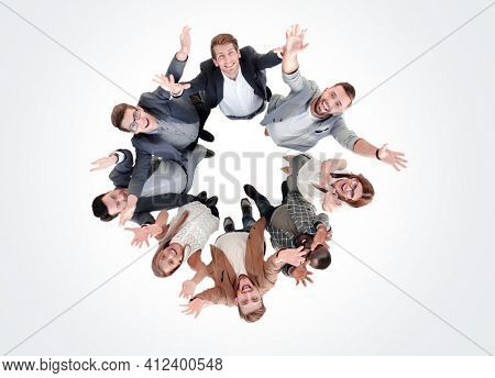 top view.a group of successful young people