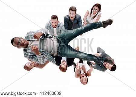 top view.business team throws up their leader