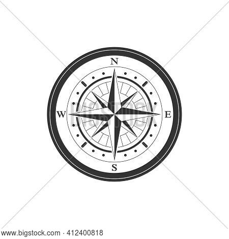 Compass Graphic Icon. Wind Rose Sign. Compass Vintage Symbol Isolated On White Background. Vector Il