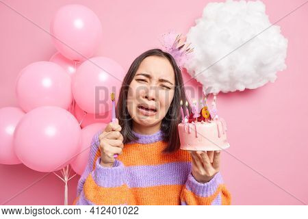 Dejected Crying Birthday Girl Being Sad As Cannot Eat Cake Because Of Problems With Teeth Holds Swee
