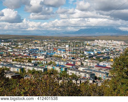 View Of The City Of Petropavlovsk-kamchatsky From Mishennaya Sopka. Magnificent Views Of The City An