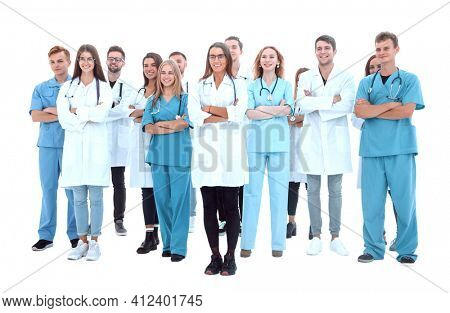 group of young medical professionals standing together