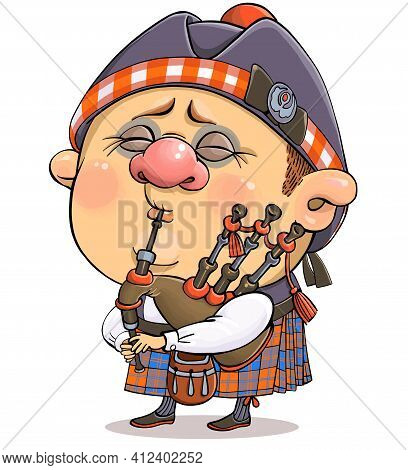 Vector Cartoon. A Funny Illustration Of A Cute British Piper In National Costume With A Musical Inst