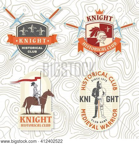Set Of Knight Historical Club Badge, T-shirt Design. Vector. Concept For Shirt, Print, Stamp, Overla