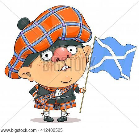 Funny cartoon vector. Illustration of a cute british guy in a Scottish national costume and the flag of Scotland