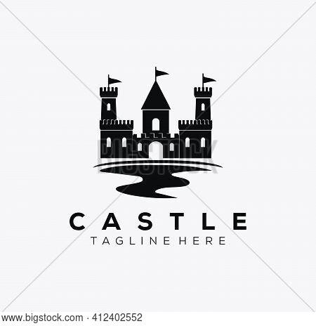 River Castle Logo Vector Illustration Design. Sillhouette Castle Icon